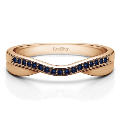 0.11 Ct. Sapphire Metal Accented Curved Band in Rose Gold