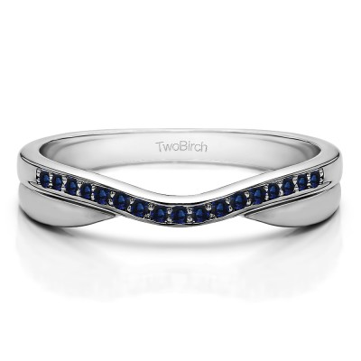 0.11 Ct. Sapphire Metal Accented Curved Band