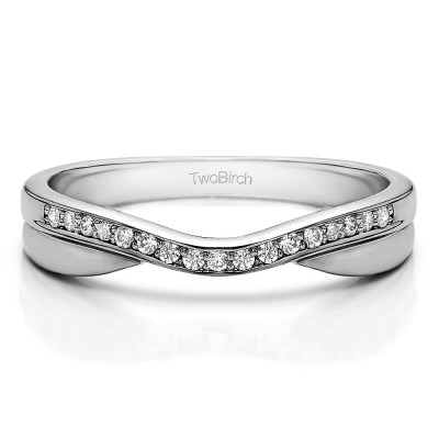 0.11 Ct. Metal Accented Curved Band