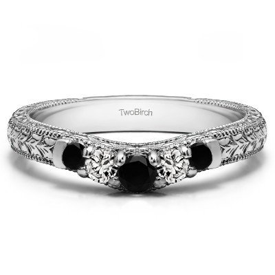 0.33 Ct. Black and White Vintage Engraved Curved Ring