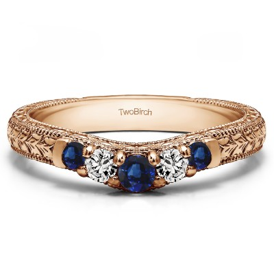 0.33 Ct. Sapphire and Diamond Vintage Engraved Curved Ring in Rose Gold