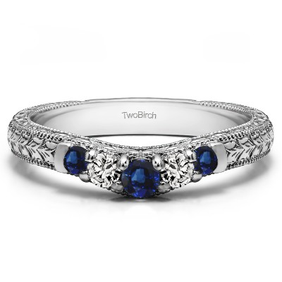 0.33 Ct. Sapphire and Diamond Vintage Engraved Curved Ring