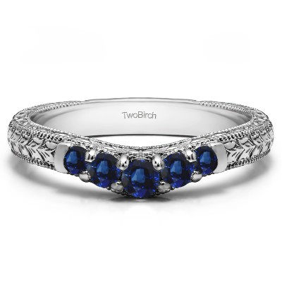 0.33 Ct. Sapphire Vintage Engraved Curved Ring
