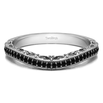 0.18 Ct. Black Filigree and Millgrained Vintage Contour Band