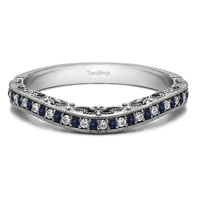 0.18 Ct. Sapphire and Diamond Filigree and Millgrained Vintage Contour Band