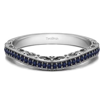 0.18 Ct. Sapphire Filigree and Millgrained Vintage Contour Band