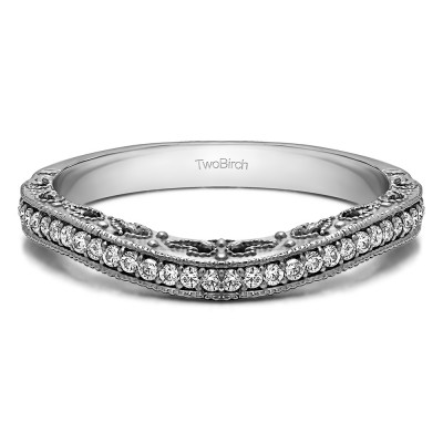0.18 Ct. Filigree and Millgrained Vintage Contour Band