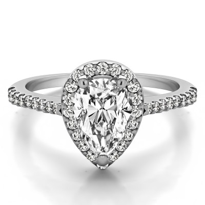 Classic Pear Shaped Halo Engagement Ring in White Gold