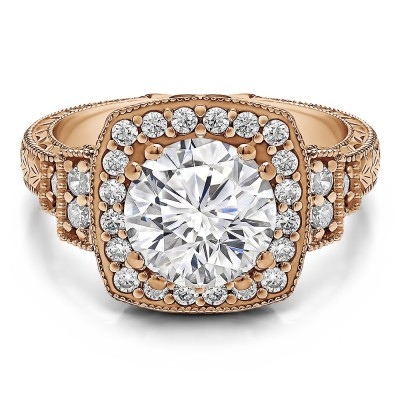 2.74 Ct. Round Vintage Halo Engagement Ring with Engraved Shank and Millgraining in Rose Gold