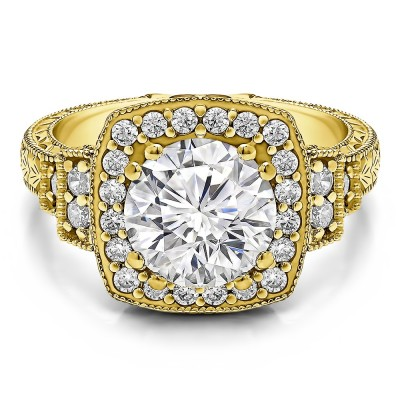 2.74 Ct. Round Vintage Halo Engagement Ring with Engraved Shank and Millgraining in Yellow Gold