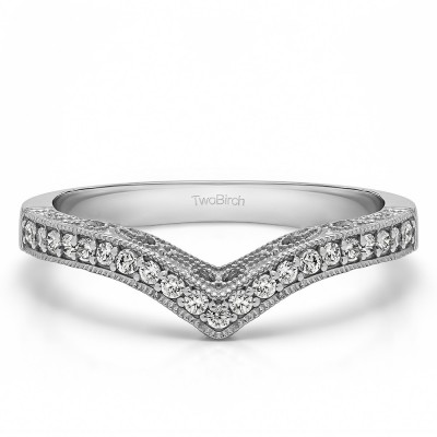 0.21 Carat Chevron Vintage Matching Wedding Band