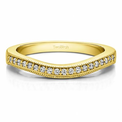 0.2425 Carat Curved Millgrained Matching Wedding Ring