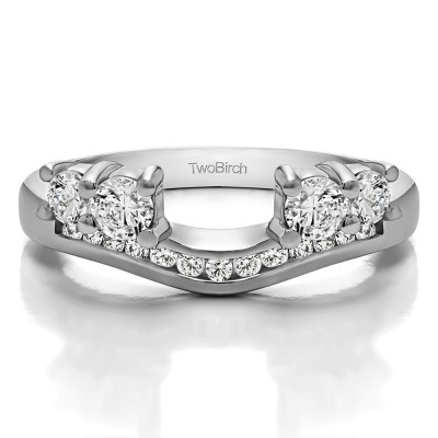 0.73 Ct. Four Stone Solitaire Anniversary Ring Wrap Enhancer With Cubic Zirconia Mounted in Sterling Silver