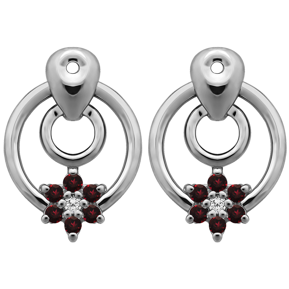 and Ruby 0.28 ct. tw. Sterling Silver Flower Dangle Earring Jackets with Diamonds G-H,I1-I2