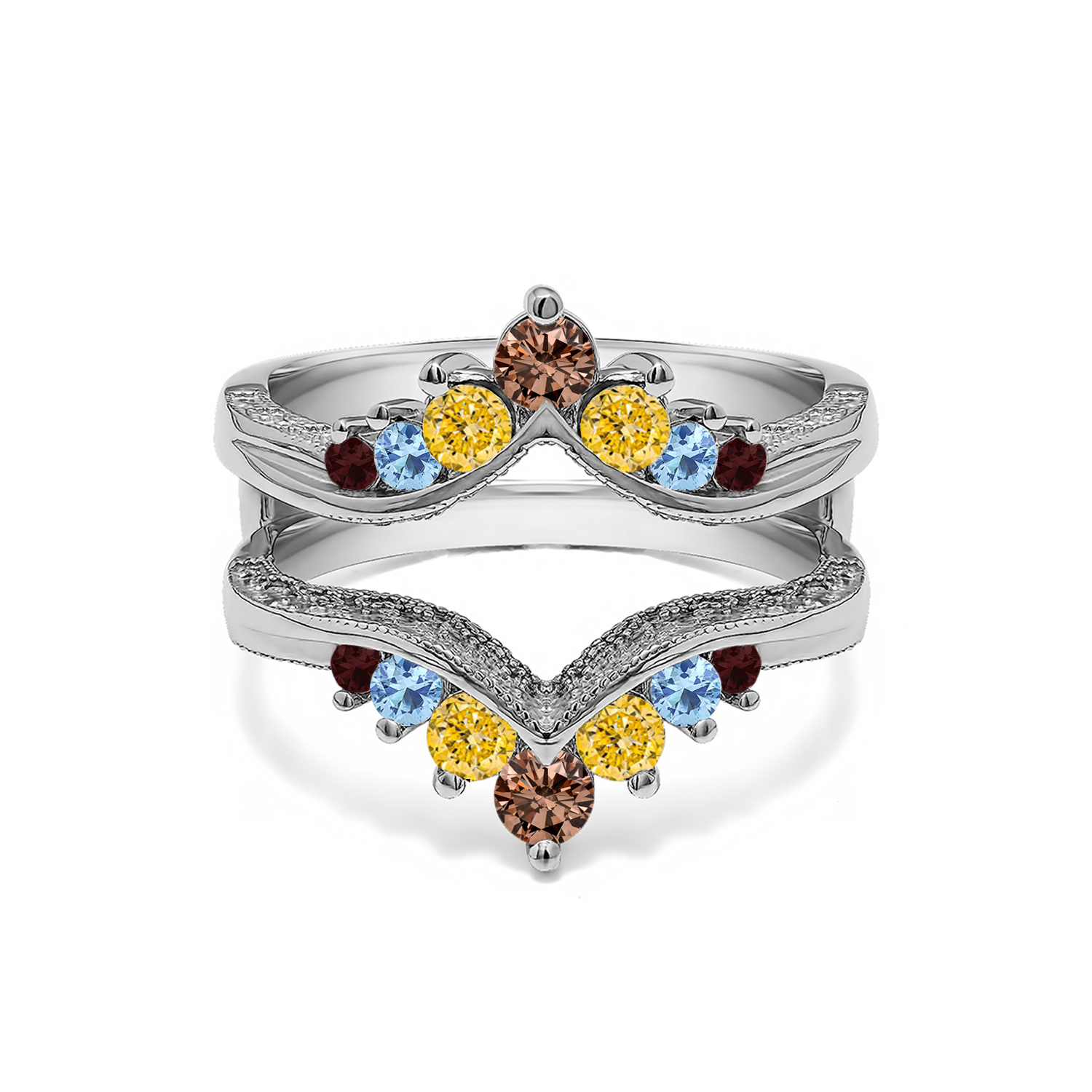 Genuine Birthstone Chevron Style Ring Guard With Millgrained Edges And Filigree Cut Out Design