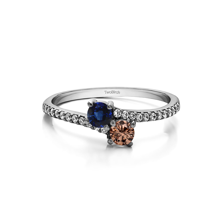 Genuine Birthstone Genuine Birthstone & Diamond Together 4ever: Twostone Ring