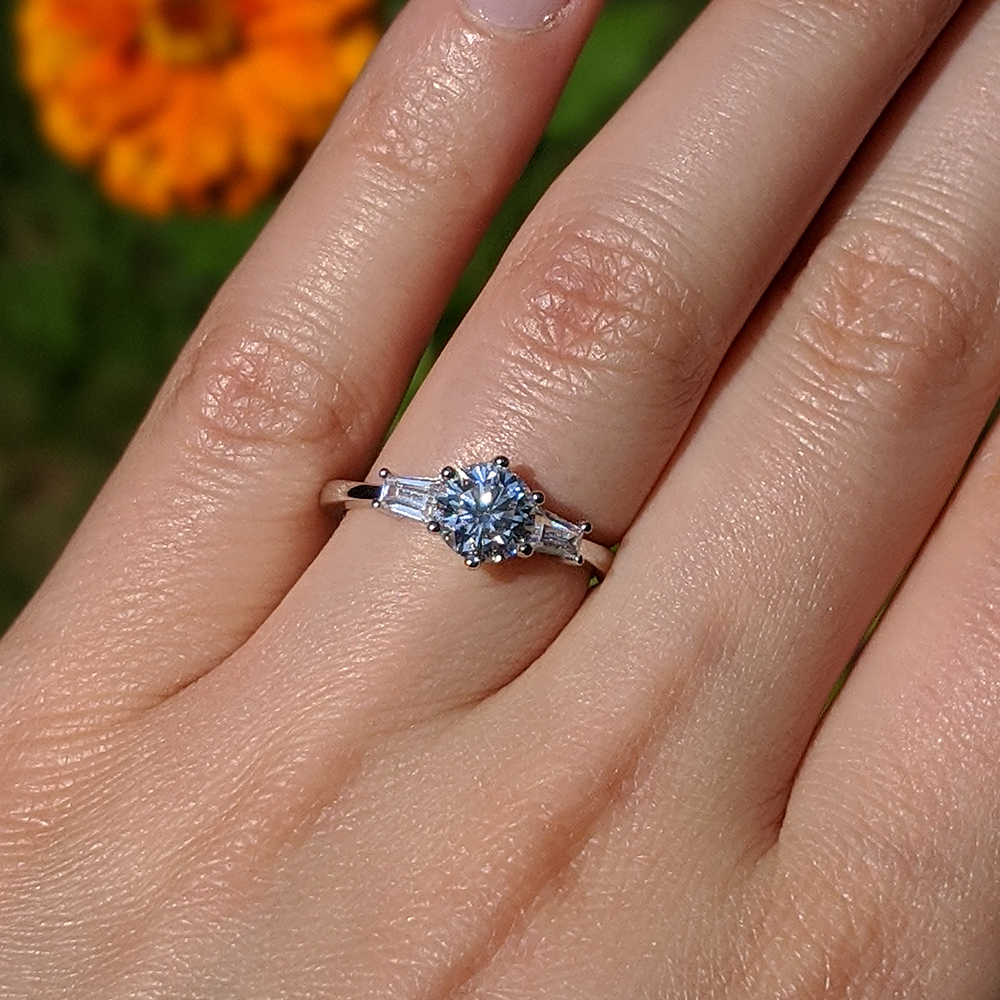 Moissanite Engagement Ring with Cubic Zirconia Baguette Side Stones