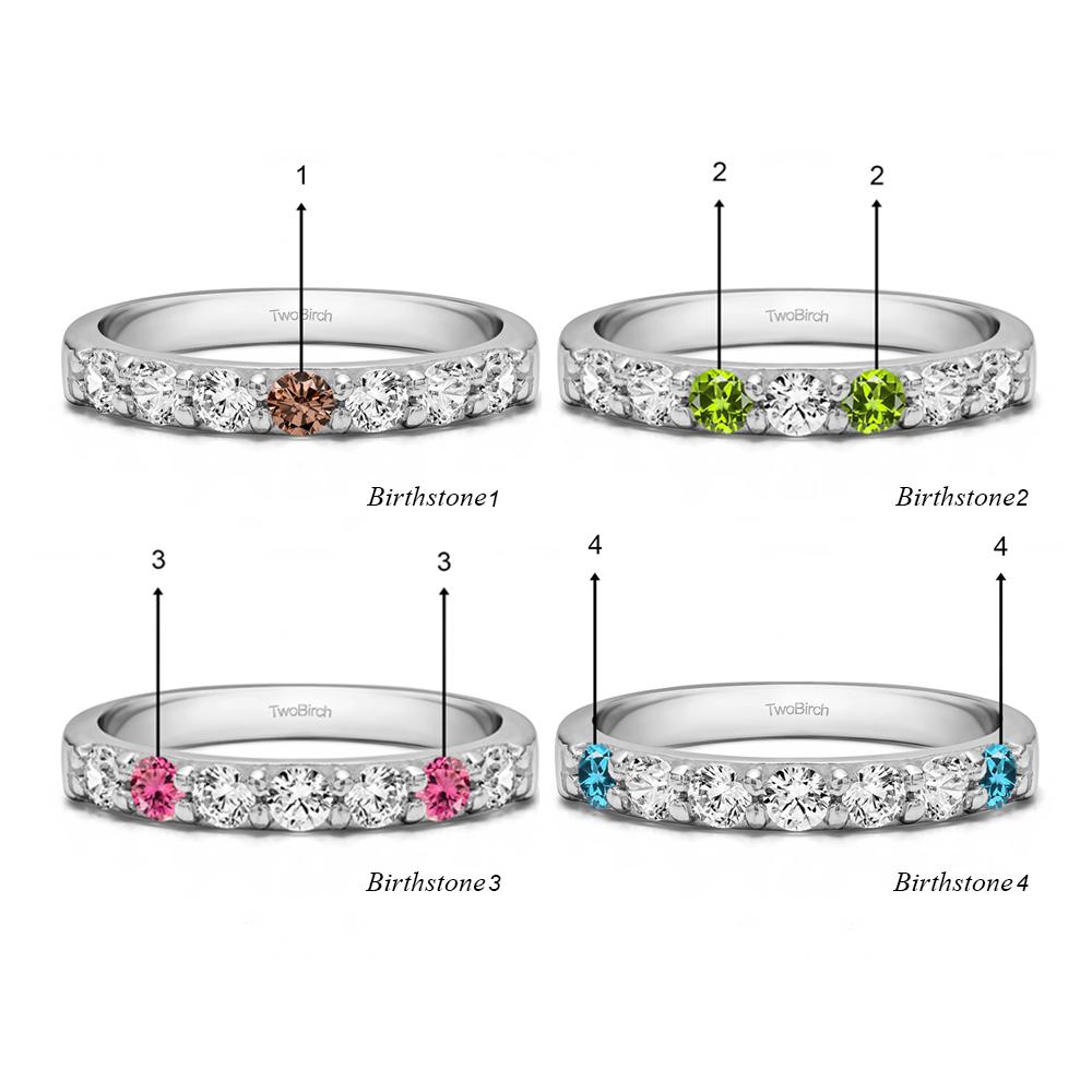 Genuine Birthstone Seven Stone Common Prong Wedding Ring